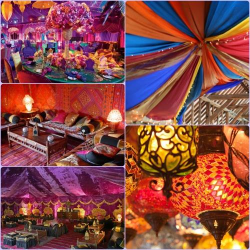 llamativas y por supuesto las telas de diversos colores que adornan el salón (o las carpas y toldos, en el caso de que la fiesta sea en una quinta).